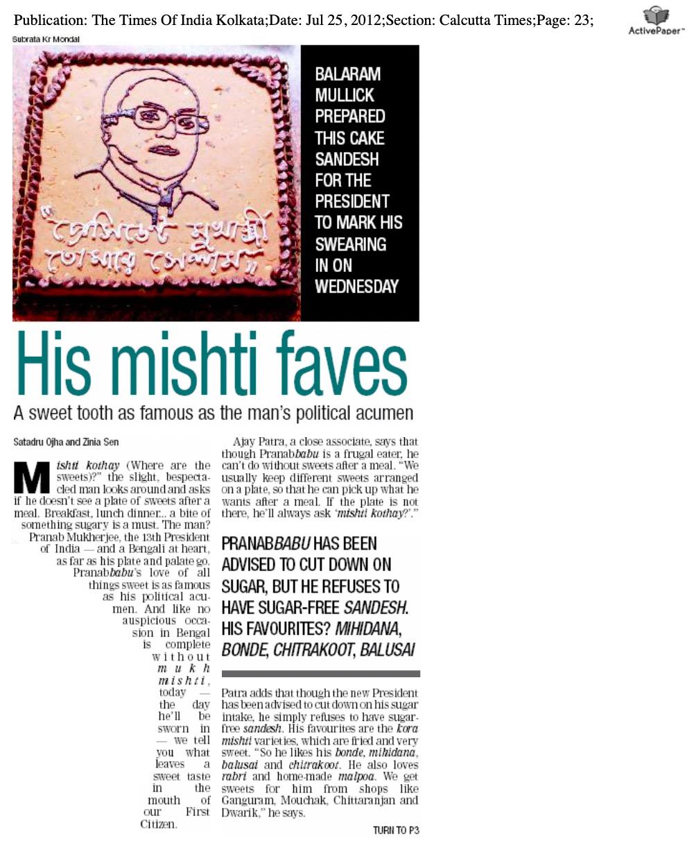 Article - His mishti faves